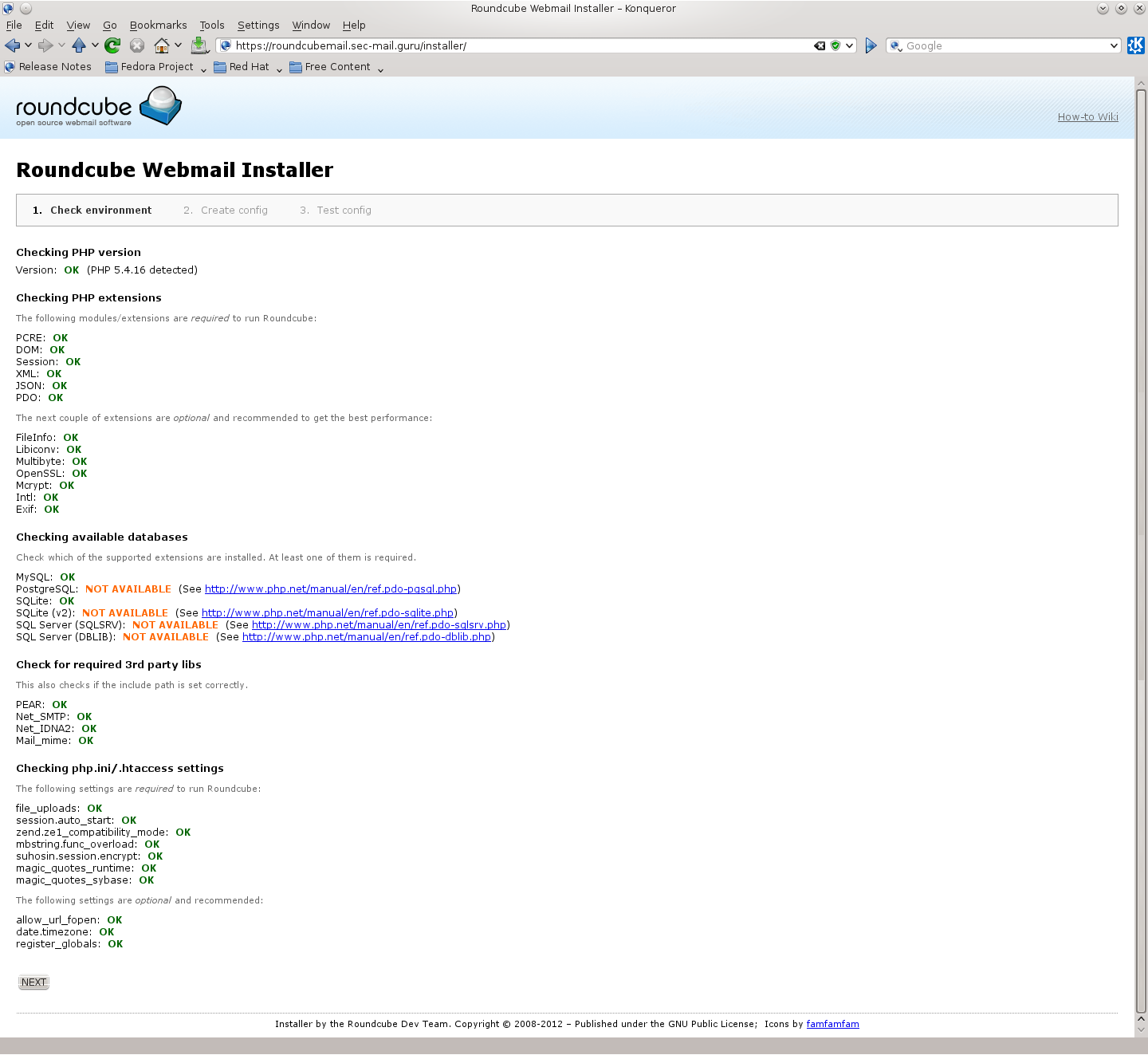 "Bild: Bildschirmhardcopy des Roundcube Installers (WEB-GUI) ""Check environment"""