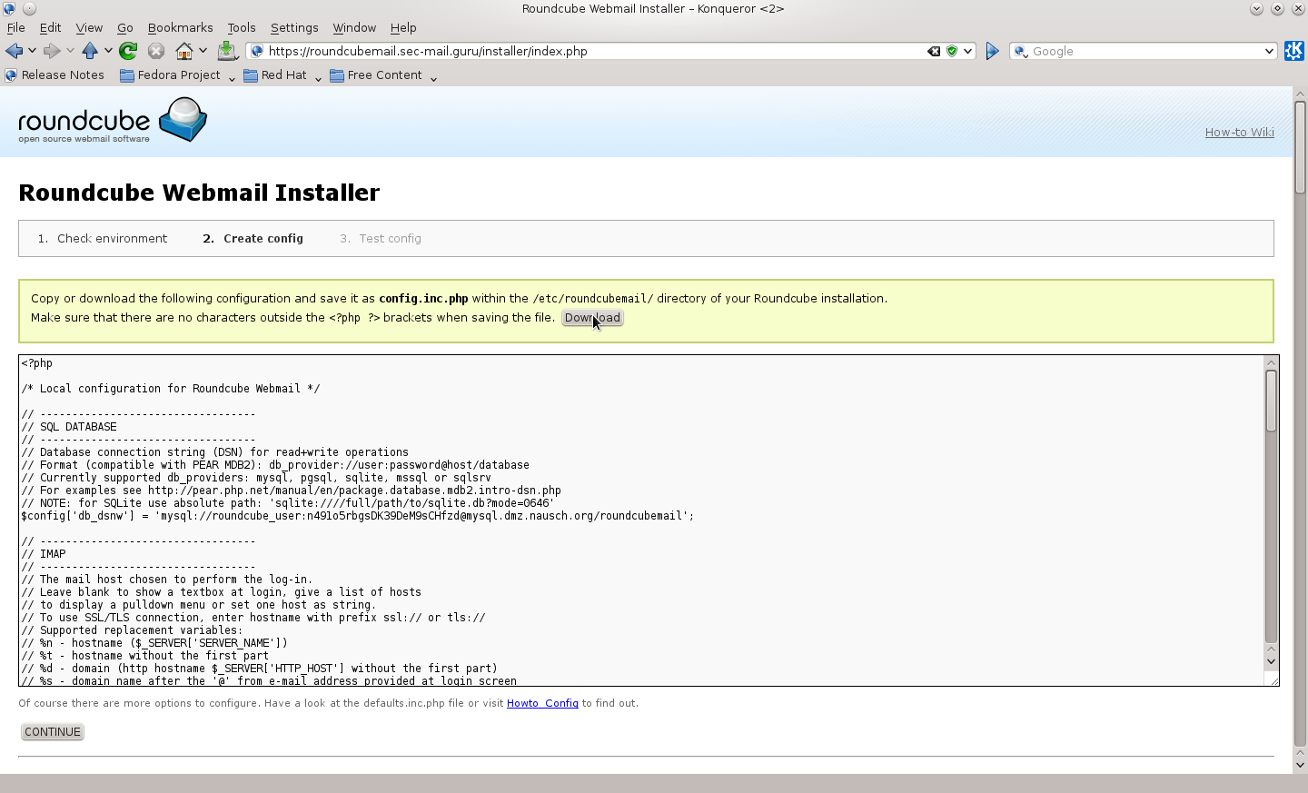 "Bild: Bildschirmhardcopy des Roundcube Installers (WEB-GUI) ""Create config"""
