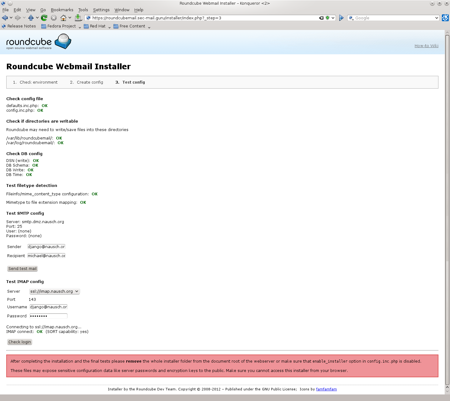 "Bild: Bildschirmhardcopy des Roundcube Installers (WEB-GUI) ""Test config"""