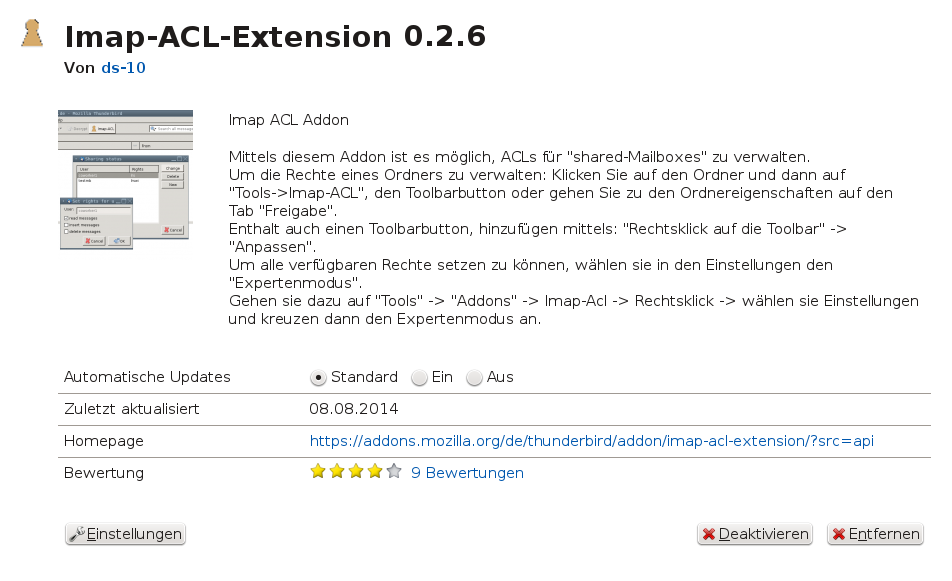 Bild: Thunderbird Imap-ACL-Extension Plugin