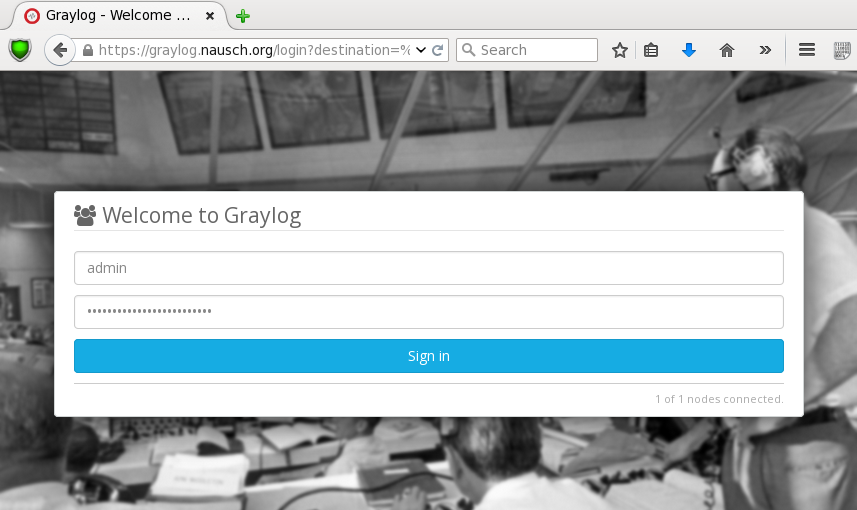 Bild: Graylog Web-GUI Login-Screen