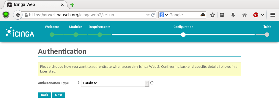 Bild: Icinga Web 2 Authentication